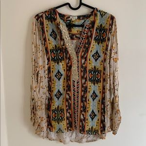 Boho silk sequin blouse